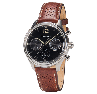 T41 Black | 43mm - Brown Leather Strap