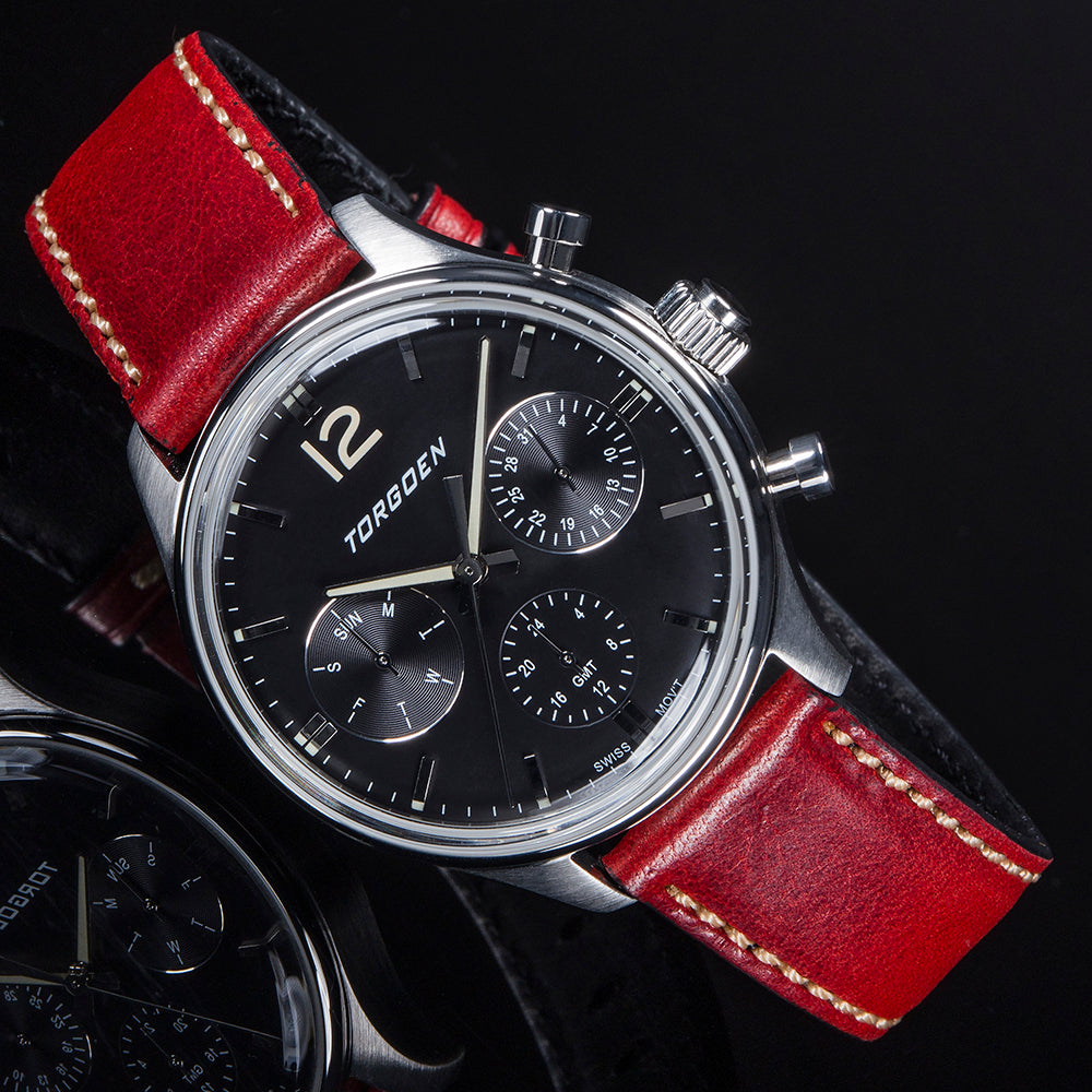 T41 Black | 43mm - Bordeaux Leather Strap