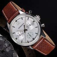 T41 White | 43mm - Brown Leather Strap