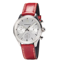 T41 White | 43mm - Bordeaux Leather Strap