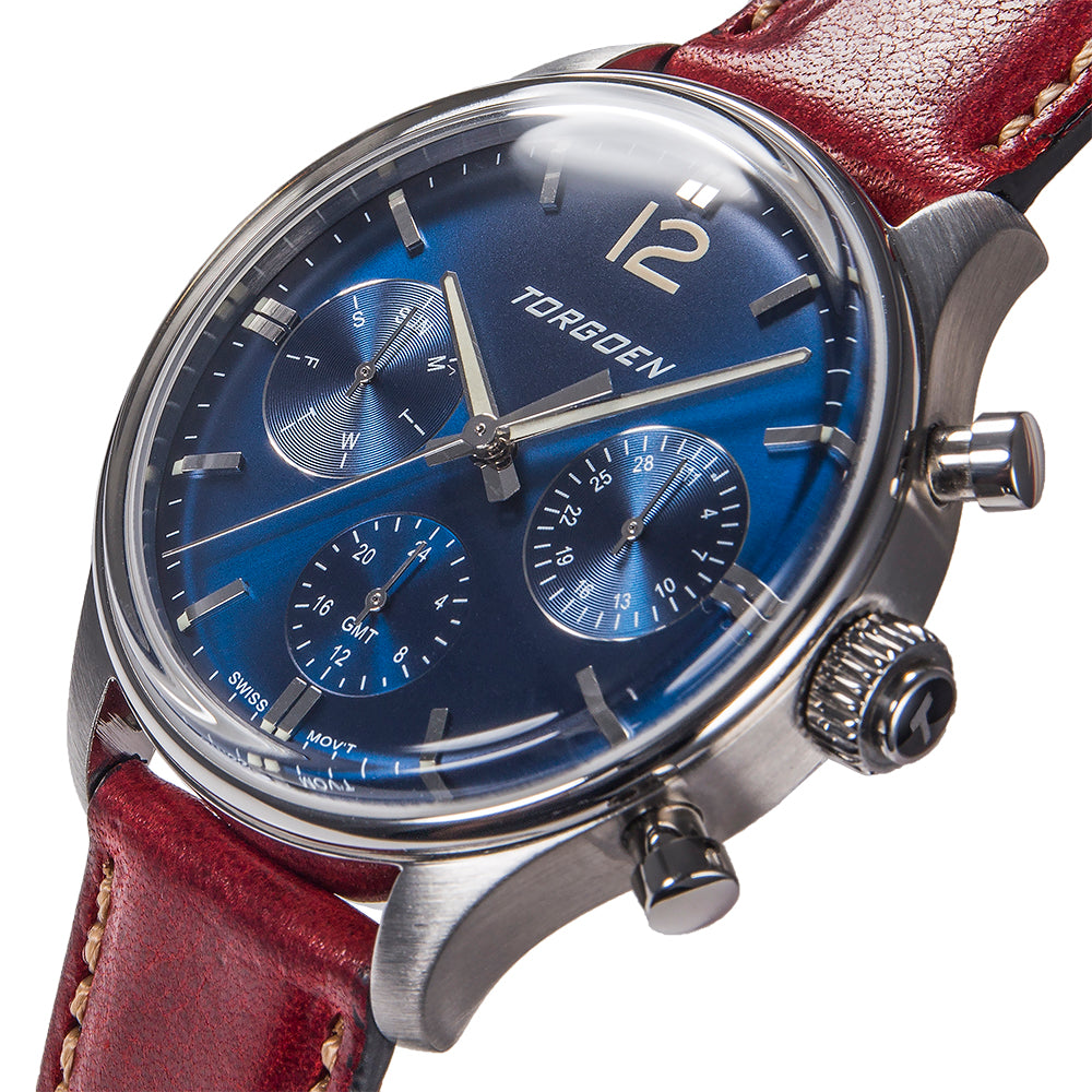 T41 Blue | 43mm - Bordeaux Leather Strap