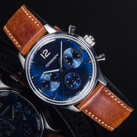 T41 Blue | 43mm - Brown Leather Strap