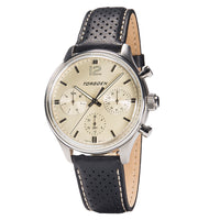 T41 Cream | 43mm - Black Leather Strap