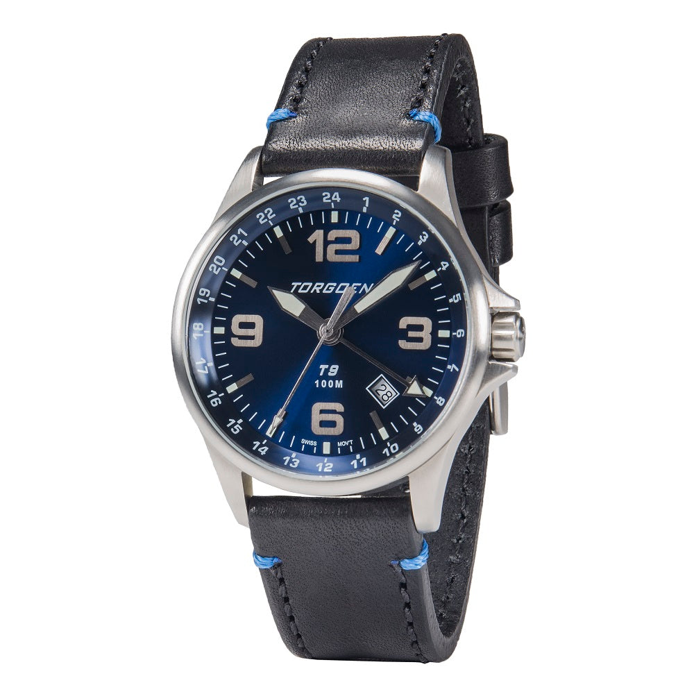 T9 Blue Jay GMT | 42mm  - Black Leather Strap