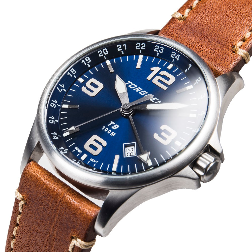 T9 Blue Heron GMT | 42mm  - Brown Leather Strap