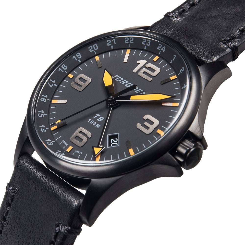 T9 Blackbird GMT | 42mm  - Black Leather Strap