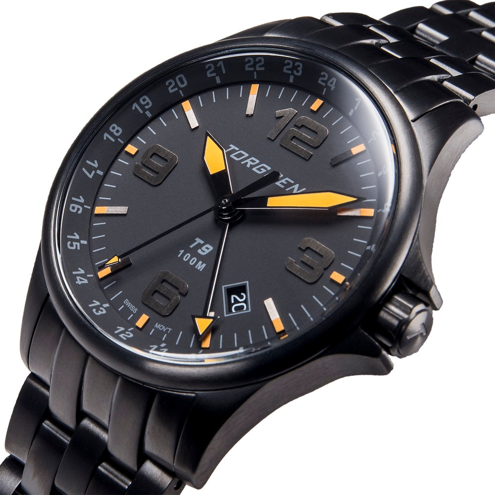 T9 Blackbird Metal GMT | 42mm  - Black Metal Strap