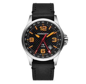 T9 Bishop Carbon | 42mm  - Black Leather Strap