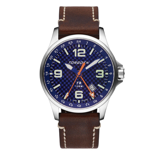 T9 Kingfisher Carbon | 42mm  - Brown Leather Strap