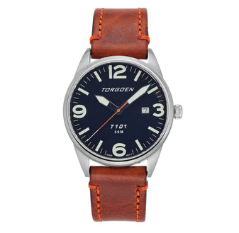 T101 Blue Kingfisher | 41mm - Brown Leather Strap