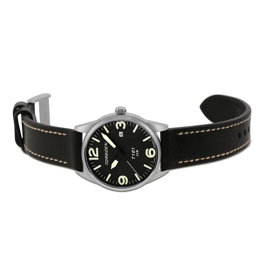 T101 Black Raven | 41mm - Black Leather Strap