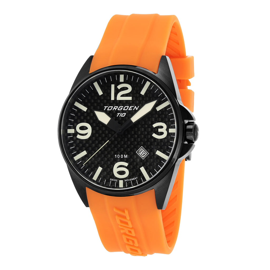 T10 Troupial Carbon Sapphire | 45mm - Orange Silicone Strap