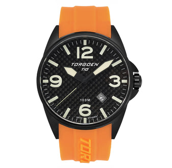 T10 Troupial  Black Carbon Sapphire | 45mm - Orange Silicone Strap