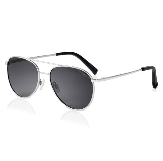 Silver Polarized Aviator Sunglasses
