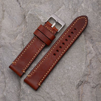 XL Brown Leather Strap w/ Tan Stitching | 22mm