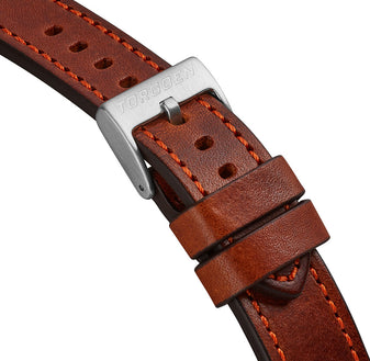 XL Brown Leather Strap w/ Orange Stitching | 22mm