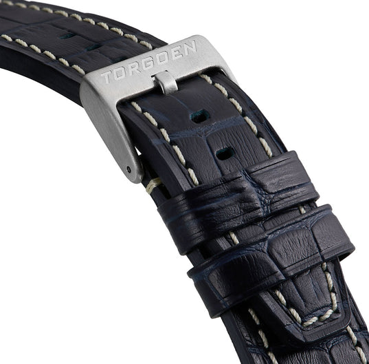 Blue Crocodile Pattern Strap | 24mm