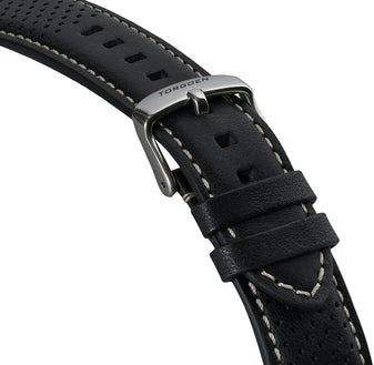 Black Leather Strap With Holes | 20mm Silver buckle