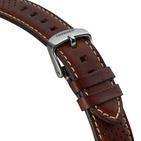 Brown Leather Strap With Holes | 20mm Silver buckle