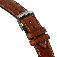 Brown Leather Strap | 20mm Silver Buckle