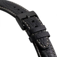Black Leather Strap - Black Buckle | 22mm