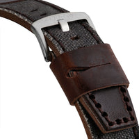 Grey and Brown Leather Strap | 24mm