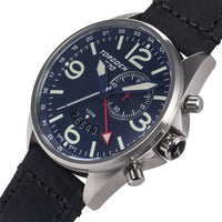 T30 Blue GMT/Alarm | 45mm - Black Vintage Leather Strap