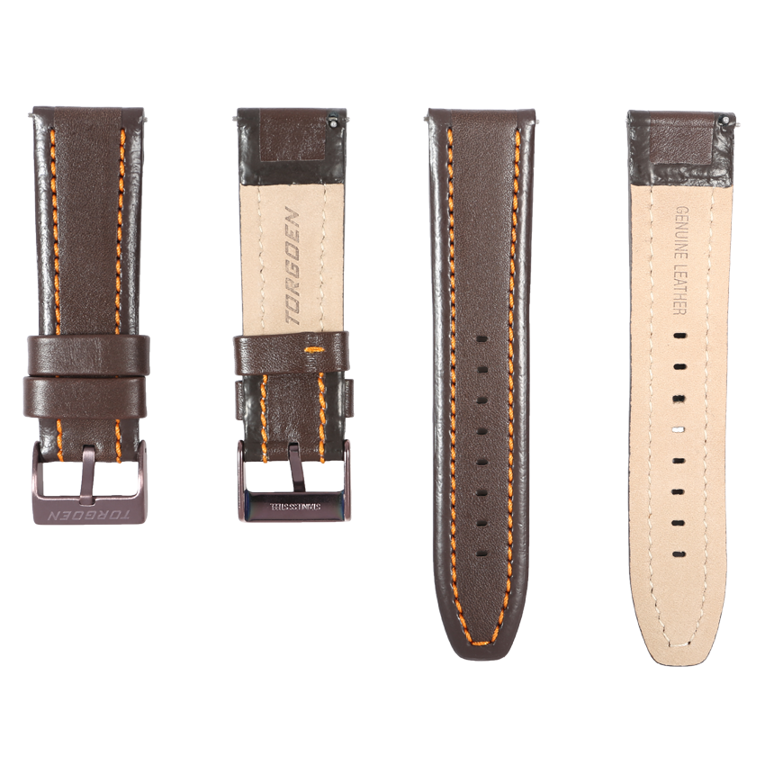 24mm Leather Strap with Heavy Duty Stainless Steel Buckle - Torgoen