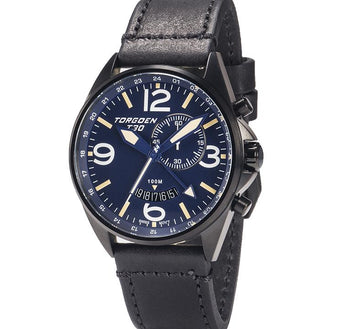 T30 Blue GMT/Alarm | 45mm | Black IP Case - Black Vintage Leather Strap