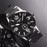 T39 Black | 41mm - Vintage Leather Strap