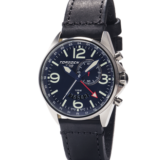T30 Blue | 45mm - Black Vintage Leather Strap