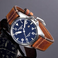 T38 Blue Automatic | 44mm - Vintage Leather Strap