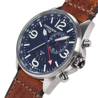 T30 Blue GMT/Alarm | 45mm - Vintage Leather Strap