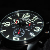 T16 Black | 45mm - Leather Strap
