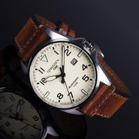 T38 Cream Automatic | 44mm - Vintage Leather Strap