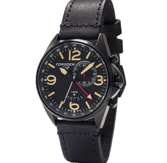 T30 Black | 45mm - Black Vintage Leather Strap