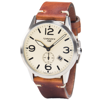 T39 Cream | 41mm - Vintage Leather Strap