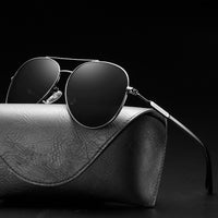 Gunmetal Aviator Sunglasses