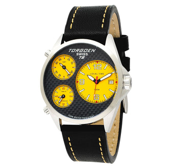 T08 Carbon Fiber Yellow |  45 mm - Black Leather