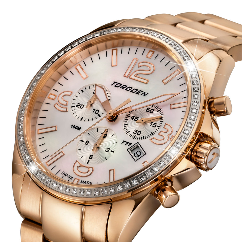 T11 Rose Gold Diamonds | 41mm - Rose Gold Strap