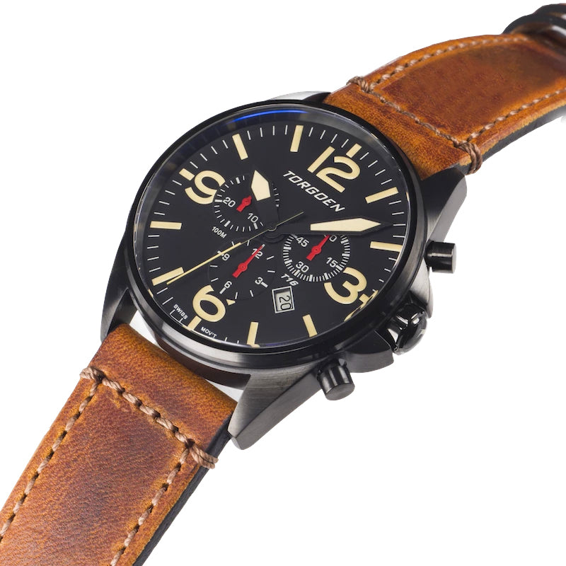 T16 Black Sapphire | 44mm - Vintage Leather Strap