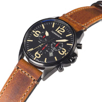 T16 Black | 44mm - Vintage Leather Strap