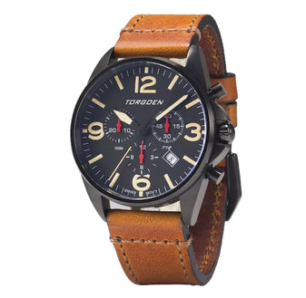 T16 Black | 41mm - Vintage Leather Strap