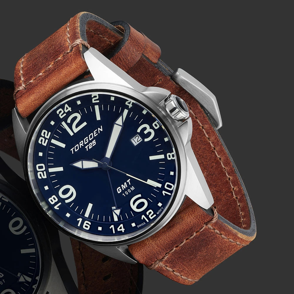 T25 Blue | 44mm - Vintage Leather Strap