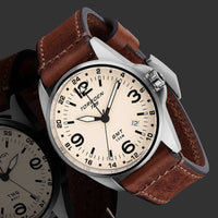 T25 Cream | 41mm - Vintage Leather Strap