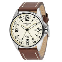 T25 Cream | 44mm - Brown Leather Strap