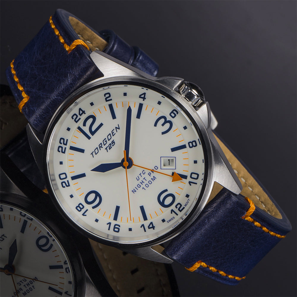 T25 Cream Dial - Night Pro | 44 mm - Blue Leather Strap