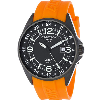T25 Black | 45mm - Orange Silicon Strap