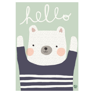 zigzag-and-zebra - Hello Bear- Petit Monkey - Zigzag and Zebra - Wall Print
