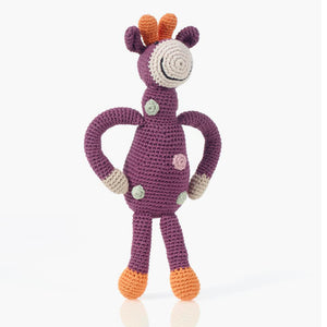 Organic Crochet Giraffe Soft Purple- Pebble - Zigzag and Zebra